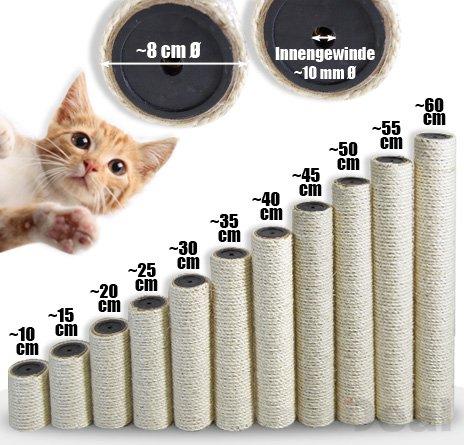 EYEPOWER 60 cm Sisalstamm für Katzen Kratzbaum - M10 Sisal Ersatzstamm - Katzenbaum Ersatzteile