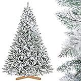 FairyTrees Árbol de Navidad Artificial, Pícea Natural con Nieve, PVC, Soporte de Madera, 220cm, FT13-220