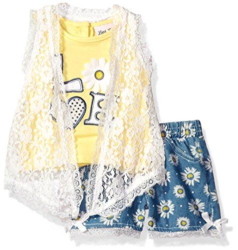 Little Lass Baby Girls' 3 Pc Crochet Lace Short Set, Yellow, 24M