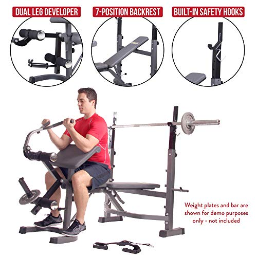 Body Champ BCB5860 Olympic Weight Bench with Preacher Curl, Leg Developer and Crunch Handle, Dark Gray/Black