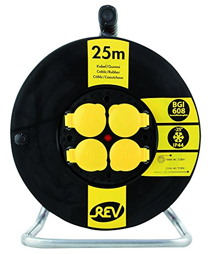 REV Ritter 0010365512 Kunststoff Kabeltrommel BGI608, IP 44, 25 m, H07RN-F, schwarz-gelb