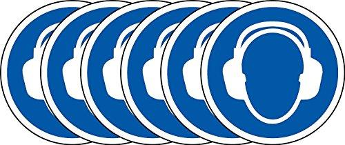 International ISO Gehörschutz Erforderliche Symbol Sicherheitszeichen - Selbstklebende Aufkleber 100mm Durchmesser (Packung mit 5 Sticker)