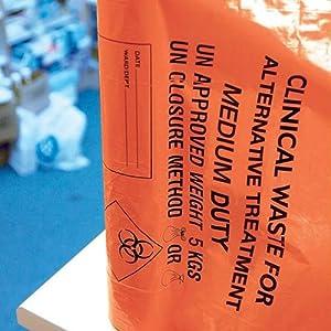 Bolsas de basura clínicas, tamaño mediano, 30 Litre/5 kg, naranja, 50