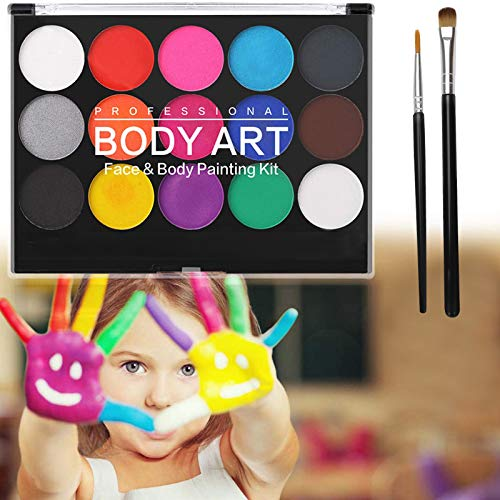 Ucradle Face Paint Kit - 15 Colours Non-Toxic Professional Face Paint Palette Washable Safe Facepainting for Halloween Party, Holiday Makeup Body, Body Painting Face Paint Kit for Kids