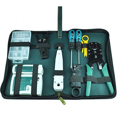 Nuzamas Ethernet/LAN RJ11RJ45testeur de câble CAT5réseau Analyseur de fils à sertir Pince à sertir Stripper Tool Kit tournevis Punch-down Lot d'outils de réseau