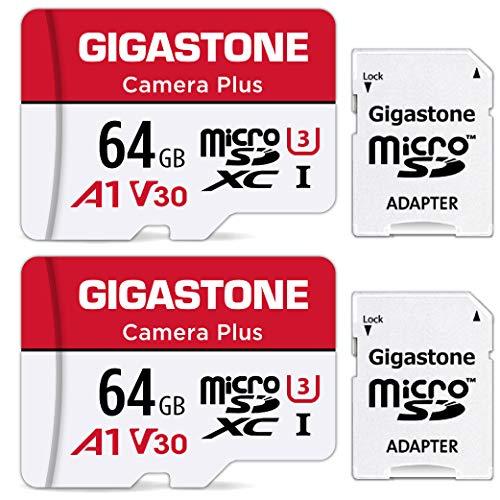 Gigastone Scheda di Memoria Micro SDXC da 64 GB con 2 Schede, Telecamera Plus Serie, A1 U3 V30 UHS-1, Velocità Fino a 95/35 MB/Sec(R/W). Compatibile con GoPro Fotocamere Videocamere, con Adattatore SD