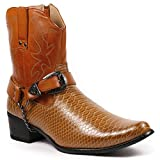 Metrocharm Diego-01 Men's Belt Buckle Chain Strap Western Cowboy Boots