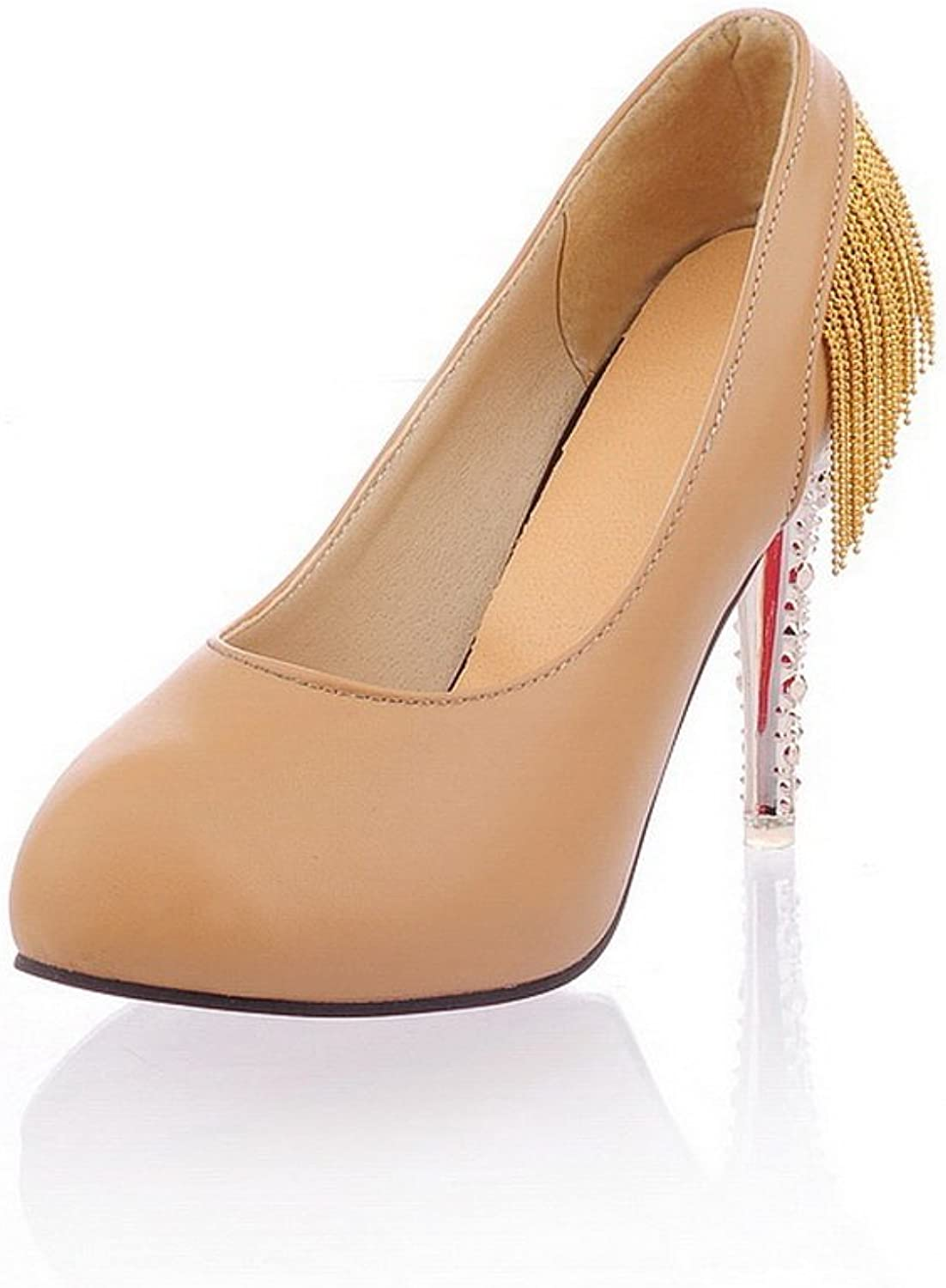 BalaMasa Ladies Crystal Heels Metal Chain Low-Cut Uppers Imitated Leather Pumps-shoes
