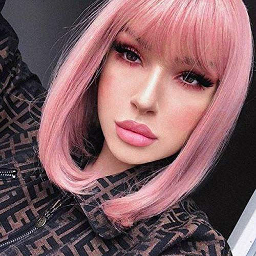 """Annivia Pastel Pink Bob Short Wig for Women 12"""" Heat Resistant Synthetic Straight Wigs with Bangs Halloween Cosplay Party Wig Natural As Real Hair (Pastel Pink)"""
