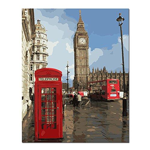 BOSHUN Pintar por Numeros para Adultos Niños Pintura por Números con Pinceles y Pinturas Decoraciones para el Hogar Londres (16 * 20 Pulgadas, Sin Marco)