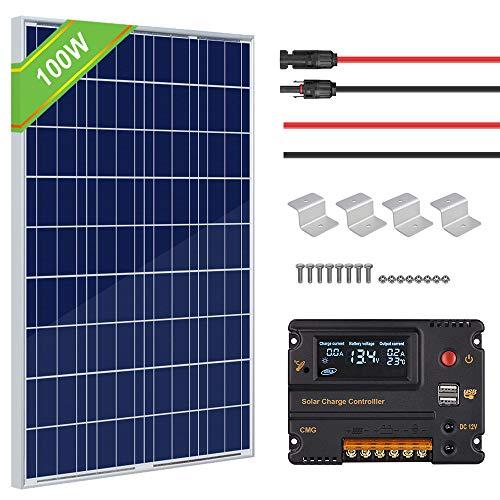 ECO-WORTHY 100 Watt 12V Solar Bausatz für Wohnmobil-Wohnmobile für Wohnmobile Solarpanel Kit mit 20A Solarladeregler & Solarkabel & Halterungen