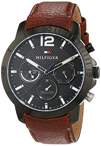 Tommy Hilfiger Herren Analog Quarz Uhr mit Leder Armband 1791269