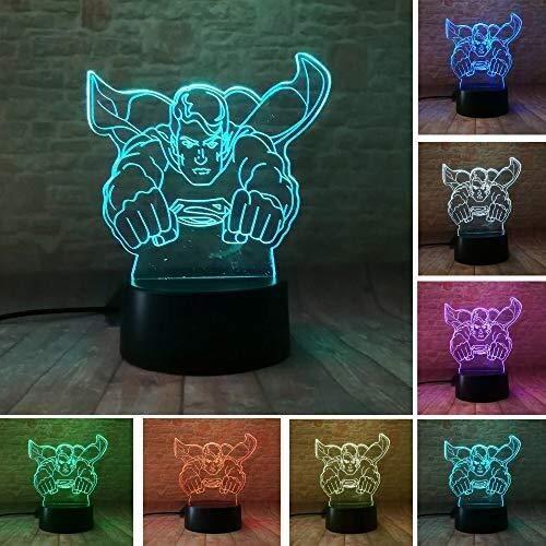 GOXJNG lámpara Superman 3D ilusión óptica de luz de la Noche del LED Mavel Super Man cabecera del sueño Tabla lámpara Decorativa de cumpleaños de los Juguetes del Partido Decoración