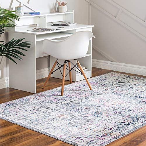 Rugs.com Budapest Collection Area Rug – 8' x 10' Gray Low-Pile Rug Perfect for Living Rooms, Large Dining Rooms, Open Floorplans