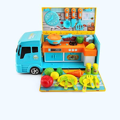Niños Cocina Carrito,Comida Accesorios Roles Juego Juguetes, Seguridad No Tóxico Inodoro,Child Real Experience Pleasure,Azul