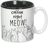 BnB Cat Lovers Mug Coffee Right Meow Funny Message Novelty Ceramic Cup for Java, Hot Tea or Hot Chocolate 13 oz 3.75 in H x 5 in W x 3.5 in D, Black and White with Feline Animated drawings, One in box