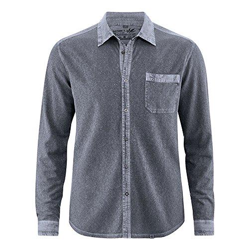 HempAge Herren Jersey-Hemd Hanf/Bio-Baumwolle Graphit XL