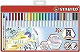 Premium-Filzstift mit Pinselspitze für variable Strichstärken - STABILO Pen 68 brush - 25er Metalletui mit Hängelasche - mit 19 verschiedenen Farben
