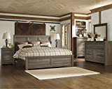 FurnitureMaxx Juararoy Casual Dark Brown Color Replicated Rough-Sawn Oak Bed Room Set, King Bed, Dresser, Mirror, Two Nightstands