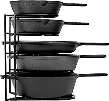 Heavy Duty Pan Organizer 5 Tier Rack - Holds up to 50 LB - Holds Cast Iron Skillets Griddles and Shallow Pots - Durable Steel Construction - Space Saving Kitchen Storage - No Assembly Required