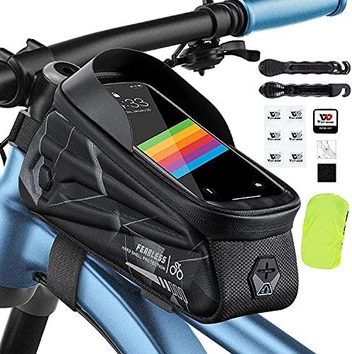 XIQI Wasserdicht Fahrrad Rahmentasche, Fahrrad Handyhalterung für Smartphones unter 7 Zoll mit TPU Touchscreen, Fahrradtasche Rahmen mit Regenhülle Reifenpatch Reifenhebel