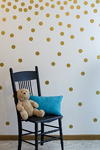Gold Wall Decal Dots (200 Decals) | Easy to Peel Easy to Stick + Safe on Painted Walls | Removable Metallic Vinyl Polka Dot Decor | Round Sticker Large Paper Sheet Set for Nursery Room (Metallic Gold)