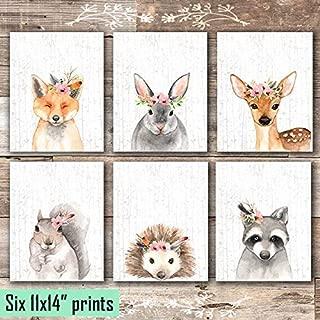 Woodland Animals Nursery Wall Art Prints (Set of 6) - Unframed - 11x14s