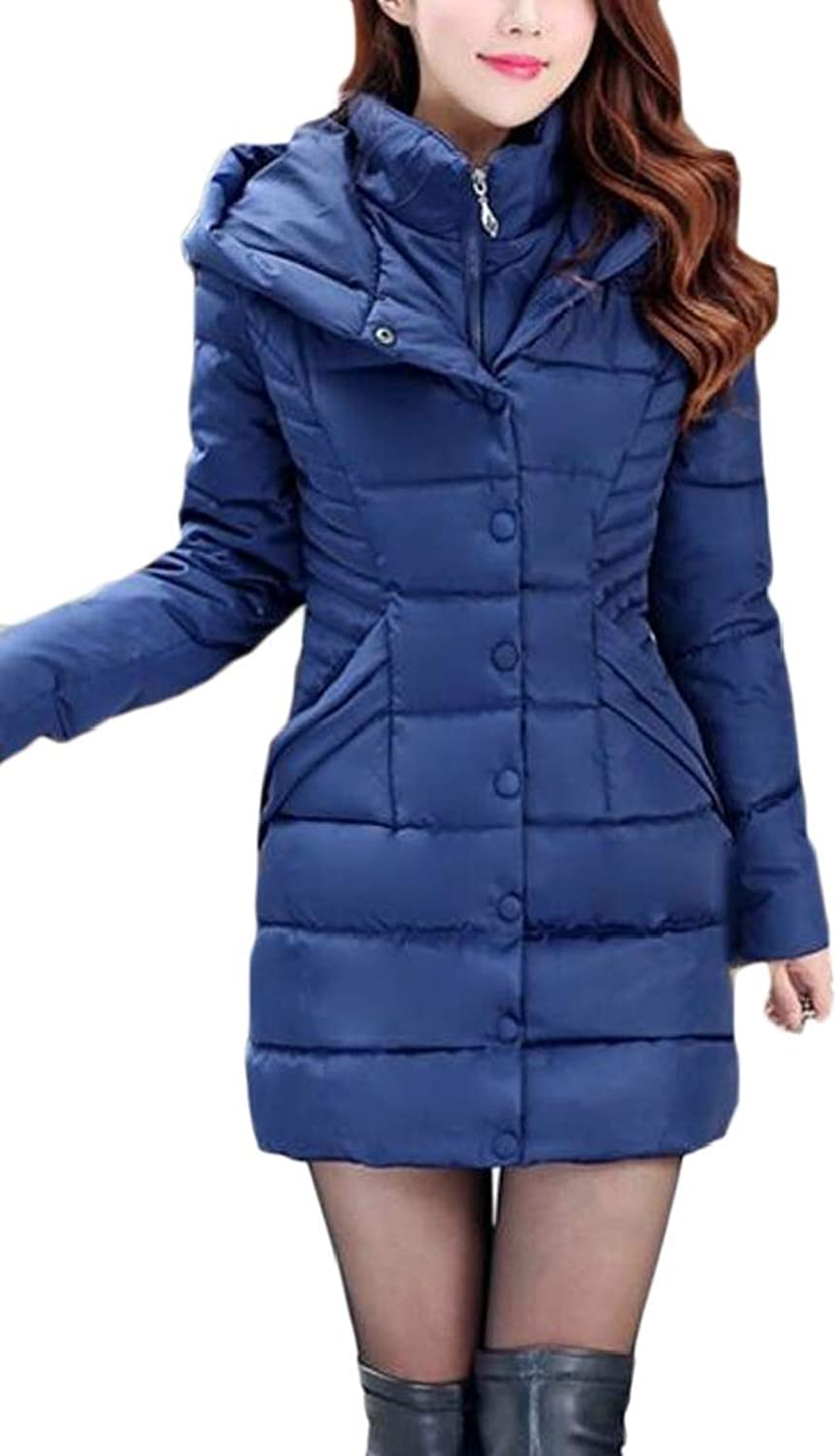 GenericWomen Winter Mid Long Solid color Hooded Fake Two Pieces Down Jacket Coat