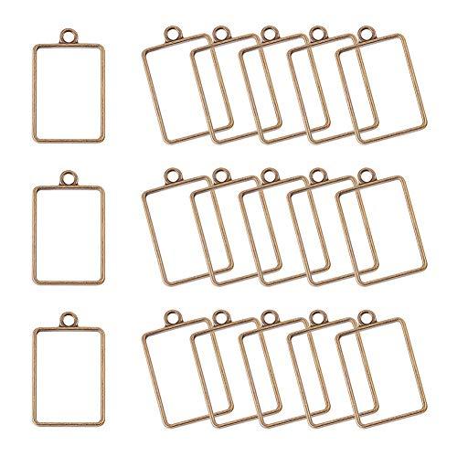 PandaHall Elite 45 piezas de bronce antiguo rectángulo marco de aleación de bisel abierto colgante en blanco para manualidades de resina UV (33,5 x 21 mm)