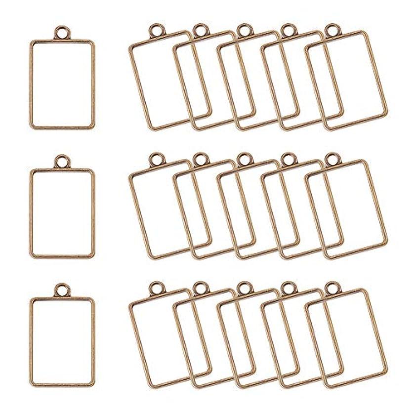 PH PandaHall 45pcs 33.5x21mm Antique Bronze Rectangle Alloy Framework Open Back Bezel Charms Pendant Blanks for UV Resin Crafts Jewelry Making