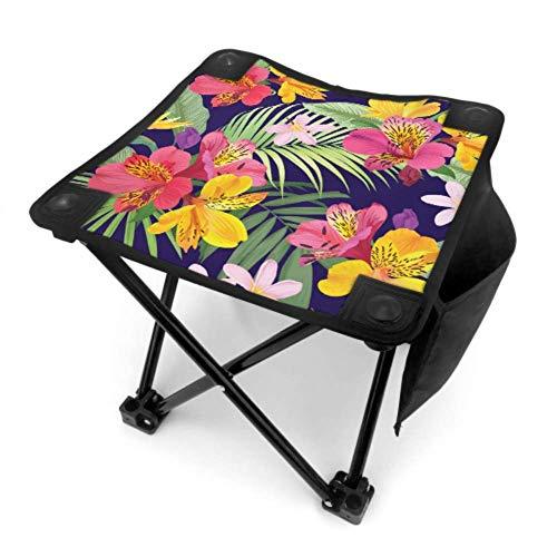 Mu You Ben Klappstuhl Tragbare Campingstühle Gelb Rosa Retro Romantische Blume Lilie Leichte Tragbare Stühle Klapp für Camping Angeln Wandern Reisen