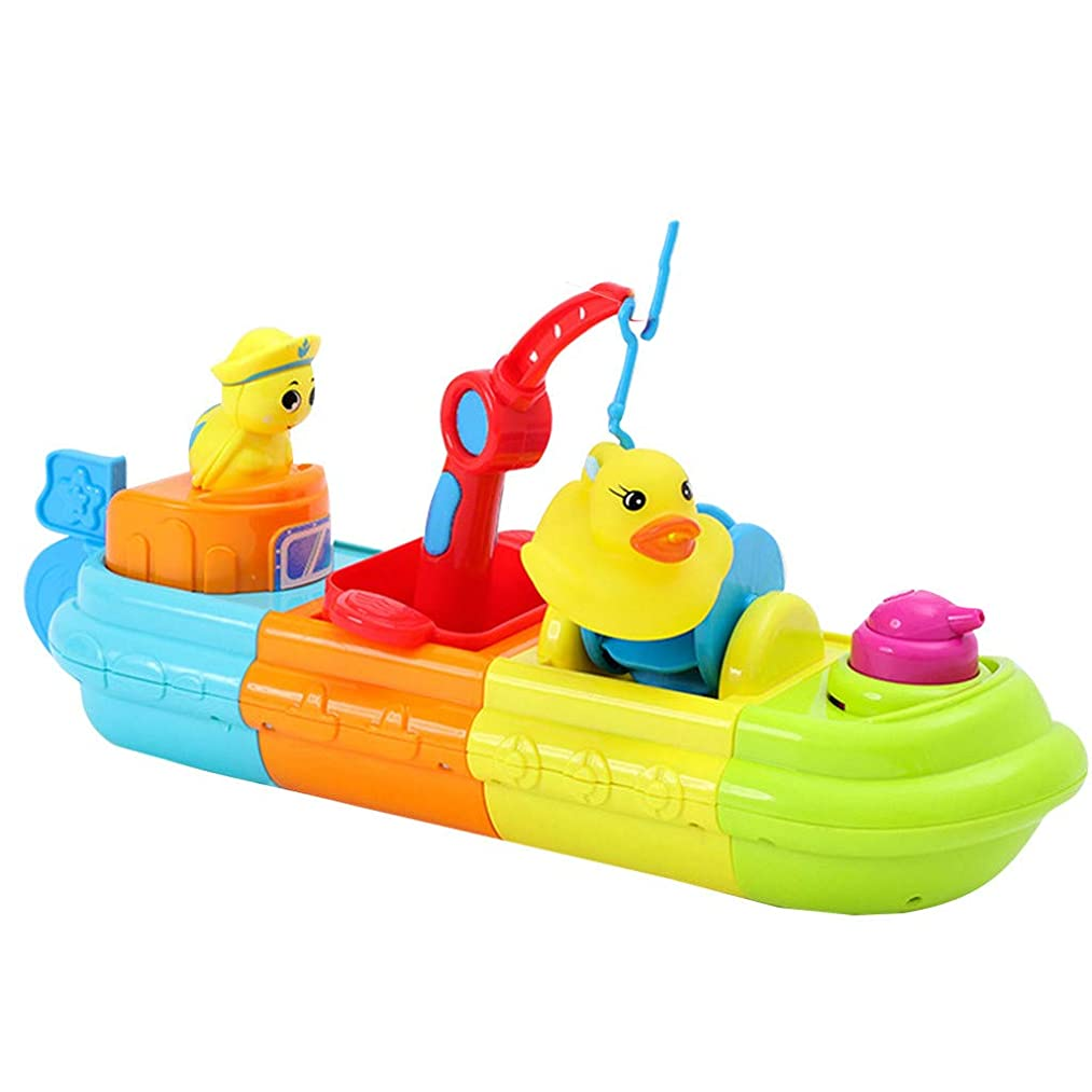 Nivalkid Assemble Boat Baby Bath Toy Bathroom Bathtub Funny Shower Toys Children's bathing boat assembling water spray floating hand holding toy infant baby play bathing boat (colorful)