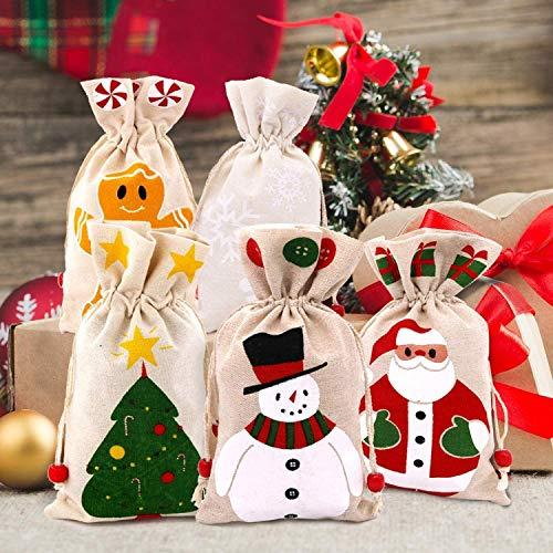 Christmas Burlap Candy Bags,Wedding Party Jewelry Favor Gift Candy Drawstring Pouch Burlap Sacks for Arts, Crafts, Presents, Snacks, Christmas, Thanksgiving