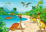 Hochwertiges Kinderposter Dinosaurier, 100 cm breit x 70 cm