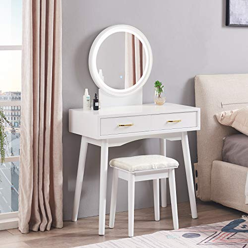 Smile Back Vanity Table with Lighted Mirror, Vanity Desk with Cushioned Tool, 3 Color Lighting Modes with Touch Screen Dimming Mirror, 2 Drawers Makeup Vanity for Bedroom and Dressing Room (White)