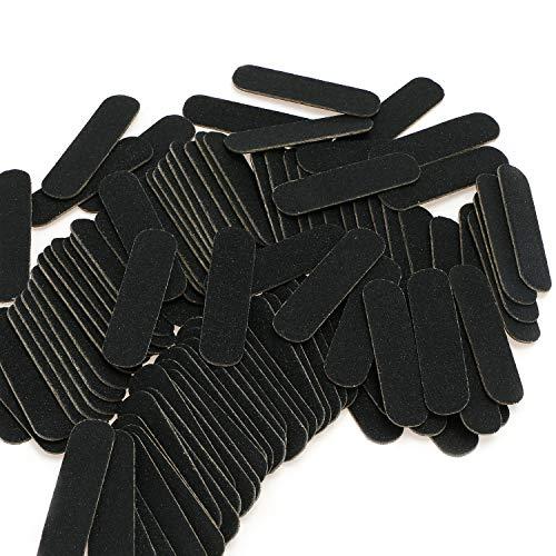 Mwoot 100 Stück Nagelfeilen, Doppelseitige Einweg Nagelfeile, Professionelle Care Mini Nagelfeilen -180/240 Grit (Schwarz)
