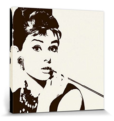 1art1 Audrey Hepburn - Fumando Cigarrillo Cuadro, Lienzo Montado sobre Bastidor (40 x 40cm)