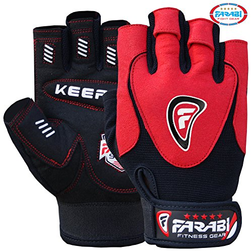 Farabi Real Leather Spandex Gel Padded Weightlifting Training Gym Workout Gloves