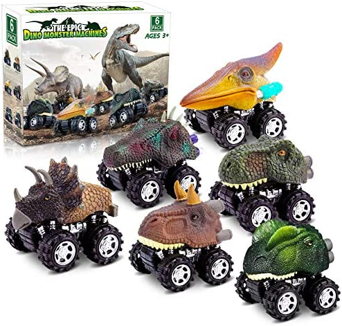 Dinosaur Toys for 3 Year Old Boys Pull Back Dinosaur Toys for 5 Year Old Boy 6 Pack Set Car product image