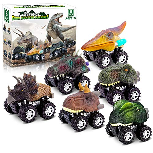 Dinosaur Toys for 3 Year Old Boys, Pull Back Dinosaur Toys for 5 Year Old Boy 6 Pack Set Car Toys for 4 Year Old Boys Christmas Birthday Gifts for Kids 2,3,4,5,6 Year Old Boys Girls