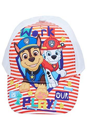 Paw-Patrol Kappe, Kappy, Baseball Cap mit den Hunden Chase und Marshall Work is Our Play!, aus 100% Baumwolle, für Kinder (52, Weiß)
