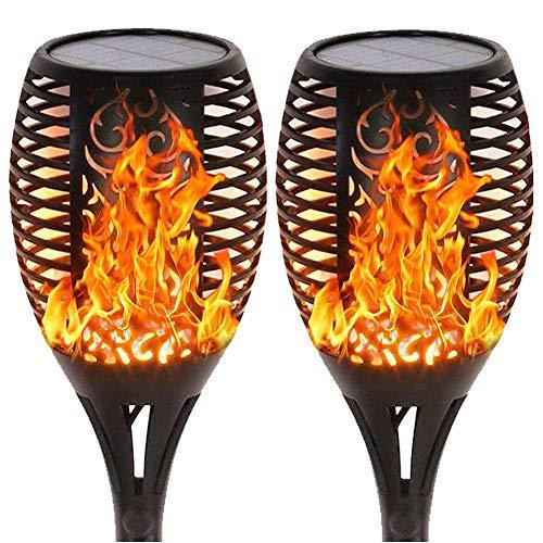 Lumières Solaires De Jardin Lot De 2 Lumières À Effet De Flamme Led Ampoules De Flamme À Flamme Torche Dansante Flamme Étanche Et Scintillante Lumières De Torche Solaire Pour Allée De Jardin Patio De