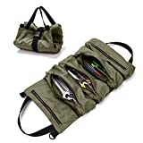 Super Tool Roll Up Bag, Heavy Duty Tool Bag Wrench Organizer with 5 Zipper Pockets, Canvas Pliers Organizer for Mechanics, Tool Pouch Sling, Car Seat Back Organizer, Ideal Gift for Men