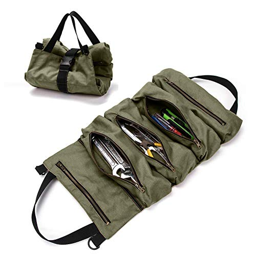 Small Tool Bags, Super Tool Roll Up Bag, Heavy Duty Tool Bag Wrench Roll With 5 Zipper Pockets, Canvas Tool Organizer for Mechanics, Motorcycle Tool Pouch, Socket Set Organizer, Hanging Tool Zipper Carrier Tote, Car Camping Gear