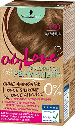 SCHWARZKOPF ONLY LOVE Coloration 6.50 Kakaobraun, Stufe 3, 3er Pack (3 x 143 ml)