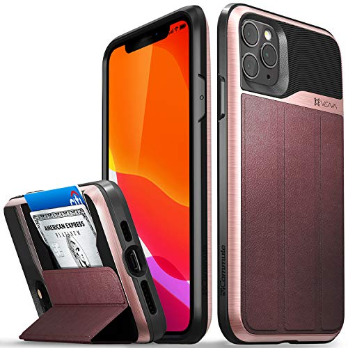 """Vena vCommute Wallet Case Compatible with Apple iPhone 11 Pro Max (6.5""""-inch 2019), (Military Grade Drop Protection) Flip Leather Cover Card Slot Holder with Kickstand - Rose Gold"""