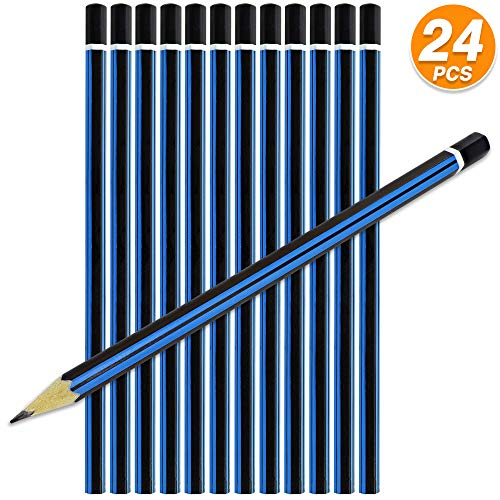 Emraw 2B Pencils Pack Bundle for Tests Exam Writing Drawing Sketching - Bulk Pack of 24 Pencil