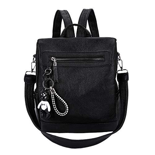 Mochila para mujer nueva versión coreana de Pu al aire libre bolsa de viaje de ocio impermeable bolsa de moda pequeña mochila-negro-