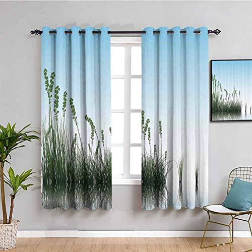 Cortina de paisaje de granja paisaje paisaje de un lago arbustos hierba con reflexión arte floral imagen impresión muebles protectores azul claro verde jade 52 x largo 84 pulgadas