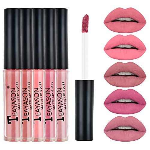 Kapian Matt Nude Lipgloss Set,5 Stück Lippenstifte Matte Liquid Lipstick Stück,Langanhaltend und Wasserfest Nudefarben Rot Rosa Pink Velvet Lippenstift Wasserdichte Langlebige Flüssigkeit Kosmetik
